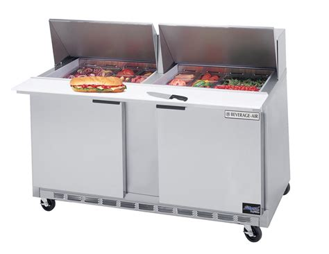 Refrigerated Bar Top by Beverage Air Spe60 24m 17 1 Cuft Two Section Sandwich Top