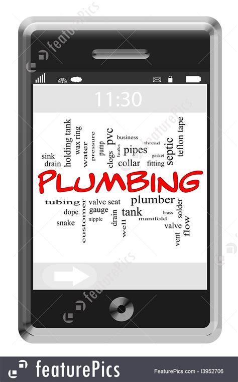 Plumbing Word by Plumbing Word Cloud Concept On Touchscreen Phone Illustration