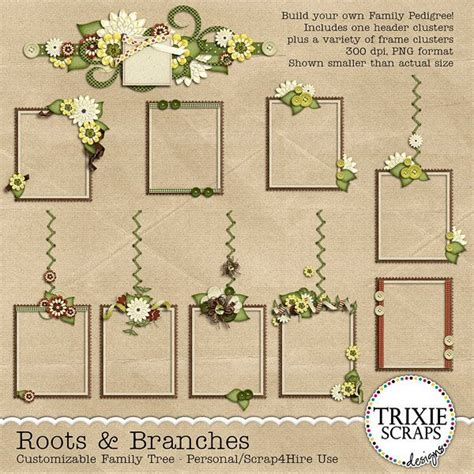 printable family tree for scrapbook roots branches digital scrapbooking customizable family