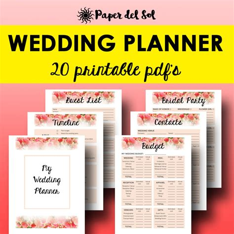 printable wedding notebook organizer wedding planner printable wedding planner book printable