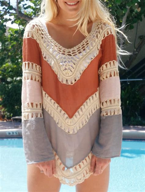Slip On Bohemian Style 1 bohemian sleeve crochet cover up clothes kaftans and boho