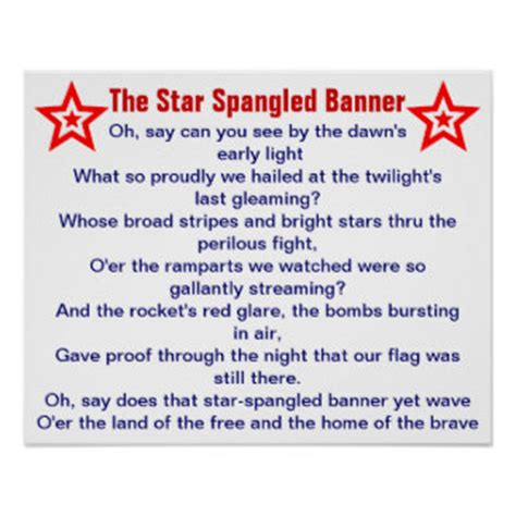 printable lyrics to the national anthem usa lyrics posters zazzle com au