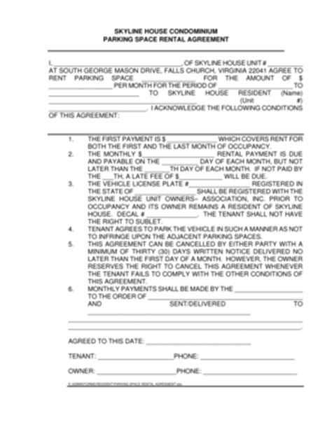 Parking Spot Rental Agreement Forms And Templates Fillable Forms Sles For Pdf Word Parking Lot Rental Agreement Template
