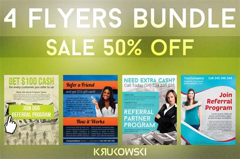 referral flyers bundle flyer templates on creative market