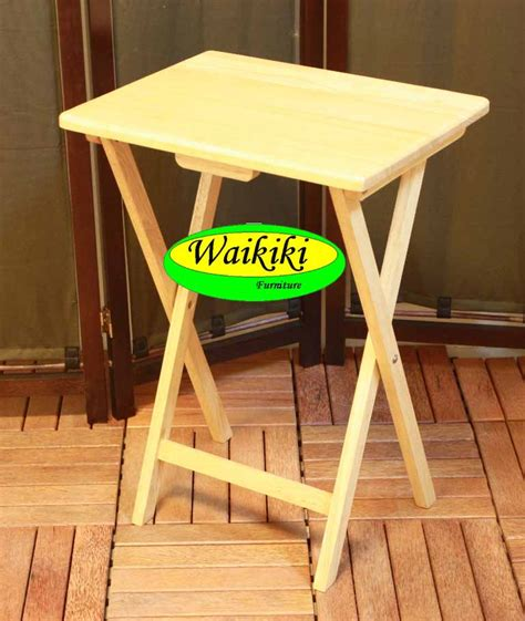 Meja Strika Lipat meja lipat atau folding table tray dari white oak wood di