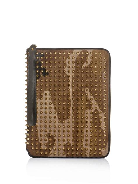 christian louboutin spiked document wallet in brown for lyst