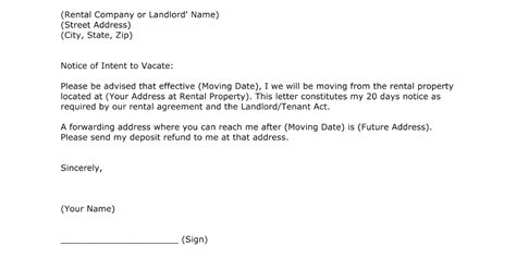 60 day notice apartment template notice of intent to vacate template docs
