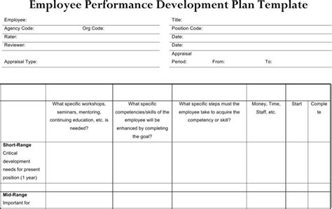 employee development plan template sle performance development plan templates to get