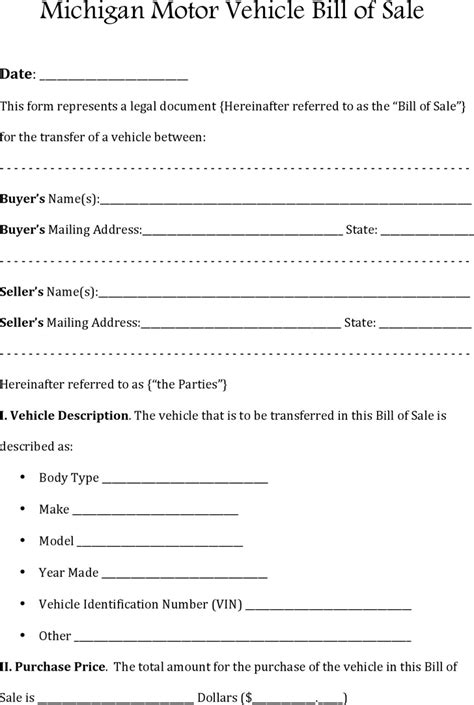 michigan boat bill of sale pdf bill of sale template free template download customize