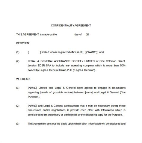 legal agreement template 9 free word pdf documents