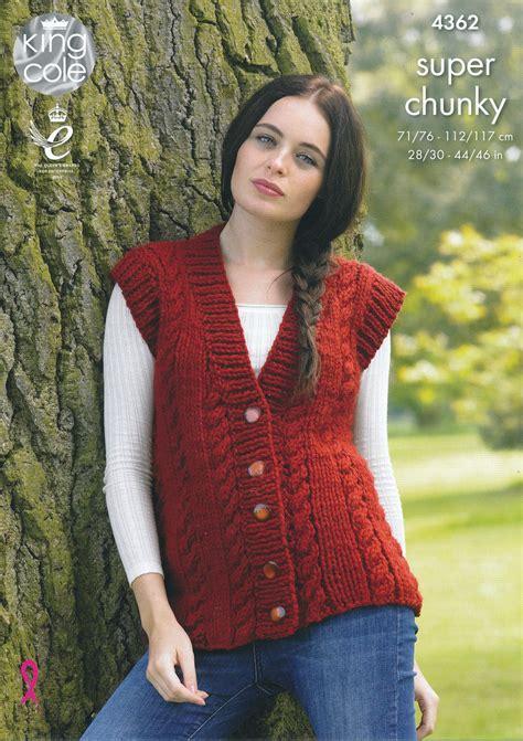 sleeveless jacket knitting pattern king cole chunky knitting pattern cable knit