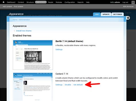 theme list drupal 7 how to change default themes in drupal 7 inmotion hosting