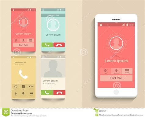 layout design mobile mobile user interface with calling layout stock