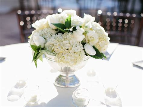 Centerpiece Flowers Wedding by Sliver Pedestal White Classic Wedding Flower Centerpiece