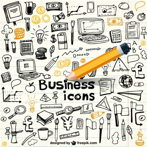 business doodle vector free business icons in doodle style vector free
