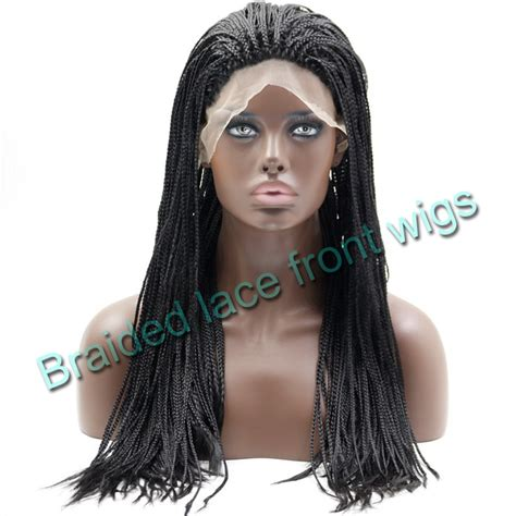 Micro Braided Wigs For Black Women | synthetic micro braided lace front wigs for black women
