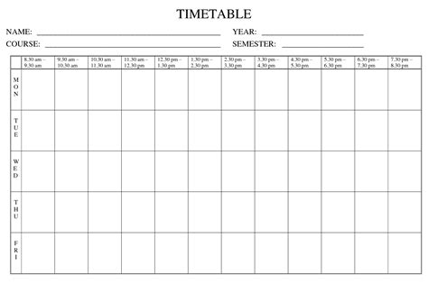 blank revision timetable template best photos of blank weekly time chart weekly time