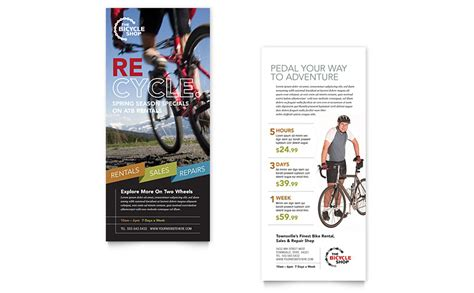 4x9 rack card template bike rentals mountain biking rack card template word
