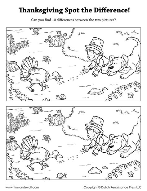 Thanksgiving Spot The Difference Tim Van De Vall Find The Pictures Printables