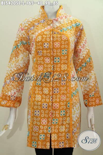 Batik Dress Kerah Kuning jual busana blus warna kuning motif keren baju modis