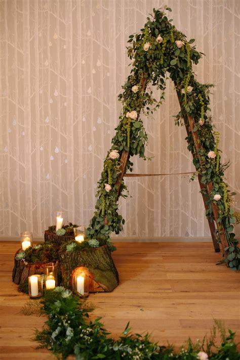 woodland rustic wedding ceremony  hampton manor tree