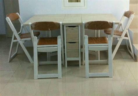 Meja Makan Kayu Mahoni jual meja makan lipat dan 4 kursi makan kayu mahoni white
