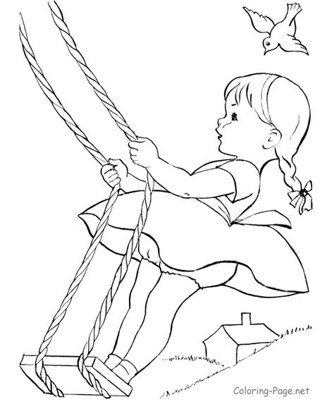 summer coloring book pages little girl swing