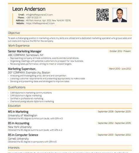 free mobile resume builder cv builder with free mobile resume and qr code
