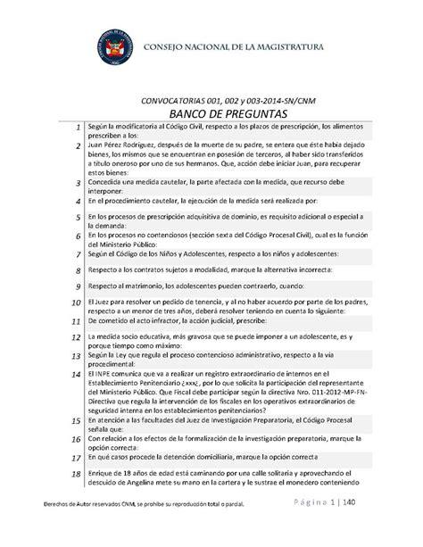 balotario desarrollado para el concurso de nombramiento de banco de preguntas consejo nacional de la magistratura