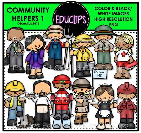 one helpers community helpers 1 clip bundle color and b w