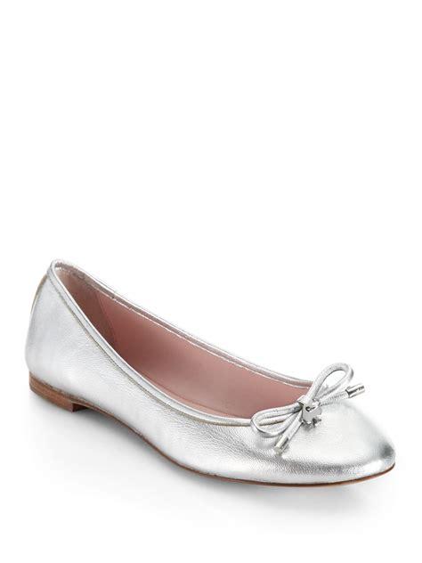 leather ballet flats kate spade willa metallic leather ballet flats in metallic