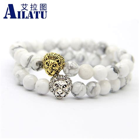 Ailatu Mens Gift Jewelry 8mm Natural White Howlite Beads Antique Silver & Real Gold Plated Lion