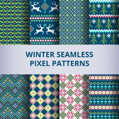 pixel pattern ai eight winter patterns with pixels vector free download