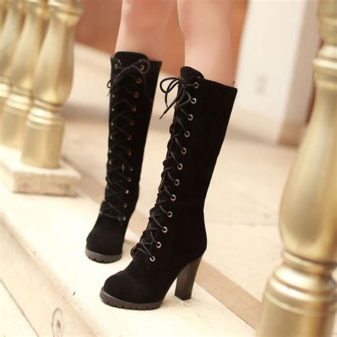 laced up high heel boots womens mid calf lace up boots block high heels