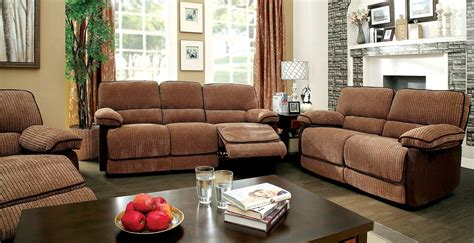 Chenille Living Room Furniture Hazlet Brown Chenille Fabric Living Room Set Cm6581 Sf Furniture Of America