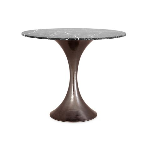 Marble Dining Table Base 36 Marble Dining Table With Hammered Base Mecox Gardens