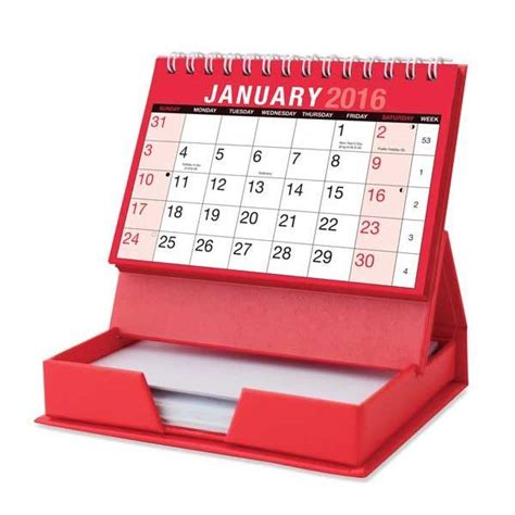 2016 month to view spiral stand up desk top calendar with