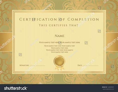 golden pattern award horizontal green certificate completion template golden