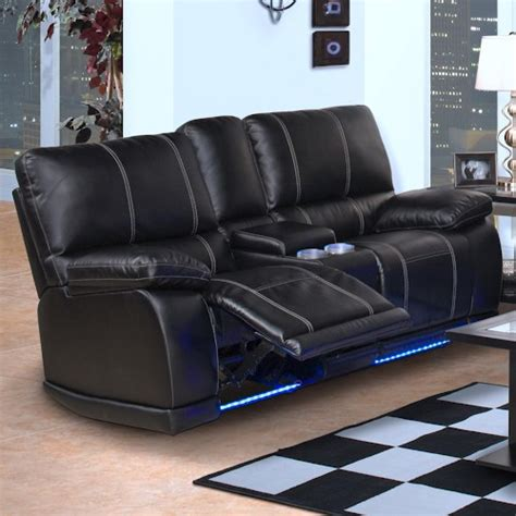 reclining with light up cup holders new classic electra contemporary dual recliner console