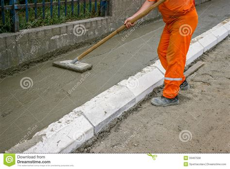 worker leveling fresh concrete stock photography cartoondealer 33467558