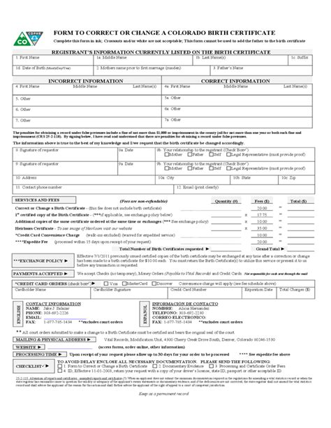 Colorado Birth Records Free Birth Certificate Change Or Correct Form Colorado Free