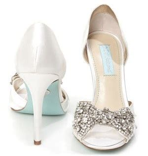 Wedding Shoes With Blue Soles by Betsey Johnson Sb Gown Ivory Satin Rhinestone Bow Peep Toe