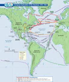 European Exploration Map by European Exploration Of The Americas 1492 1682
