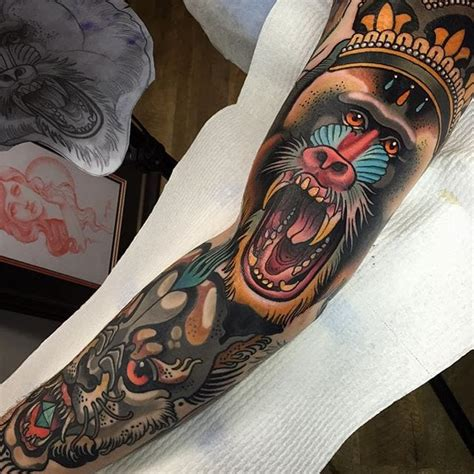 traditional animal tattoos baboon by sam clark neotraditional animal baboon samclark