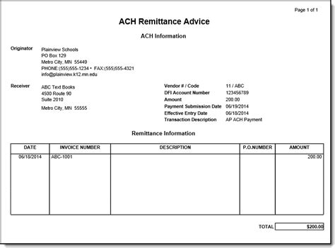 payment remittance advice template ach payment processing infinite cus