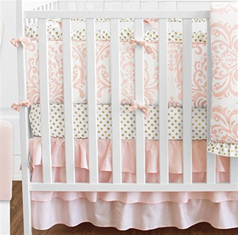 Blush Pink White Damask And Gold Polka Dot Amelia Baby Pink And White Damask Crib Bedding