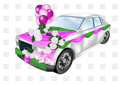 wedding car clipart wedding car decorated with flowers and balloons royalty