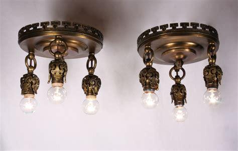Matching Light Fixtures Four Matching Antique Neoclassical Three Light Flush Mount Light Fixtures Bronze C 1905