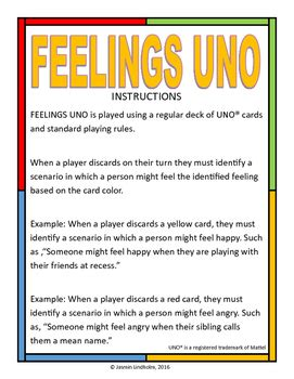 printable uno directions feelings uno by the school counselor s notebook tpt