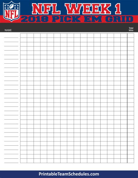pick sheets nfl weekly pick em grid